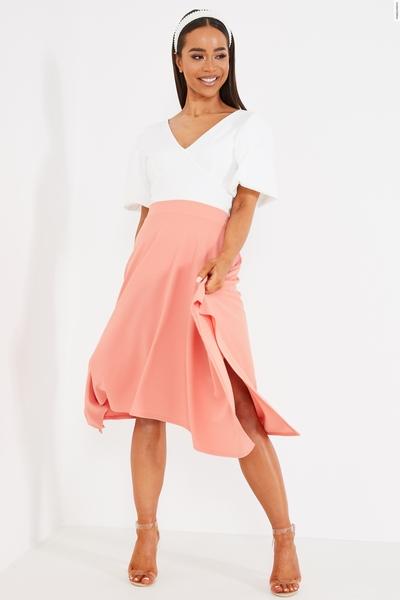 Coral High Waist Hanky Hem Skirt